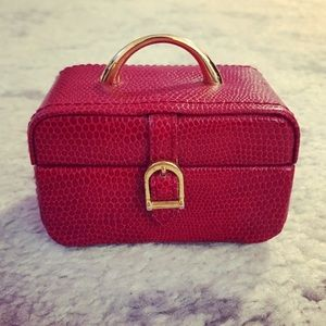 Small gold & red leather travel jewelry case / box